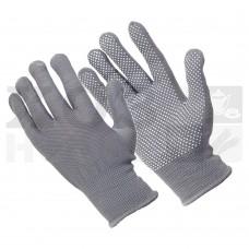 Перчатки трикотажные нейлоновые, с покрытием ладони ПВХ точками (серые)