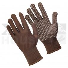 Перчатки трикотажные нейлоновые, с покрытием ладони ПВХ точками (коричневые)