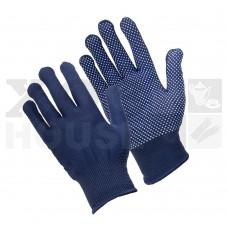 Перчатки трикотажные нейлоновые, с покрытием ладони ПВХ точками (синие)