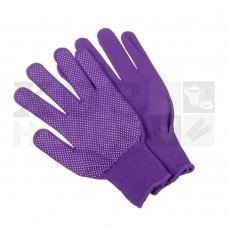 Перчатки трикотажные нейлоновые, с покрытием ладони ПВХ точками (фиолетовые)