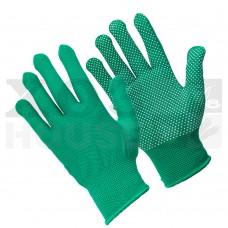 Перчатки трикотажные нейлоновые, с покрытием ладони ПВХ точками (зеленые)