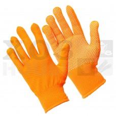 Перчатки трикотажные нейлоновые, с покрытием ладони ПВХ точками (оранжевые)