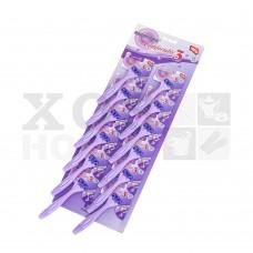 Бритва одноразовая (3 лезвия) фиолетовая, набор 12шт