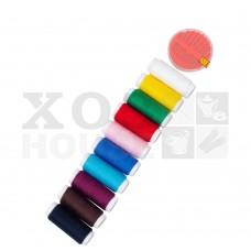 Нитки цветные 50ярд в наборе с иголками, набор 11 предм.